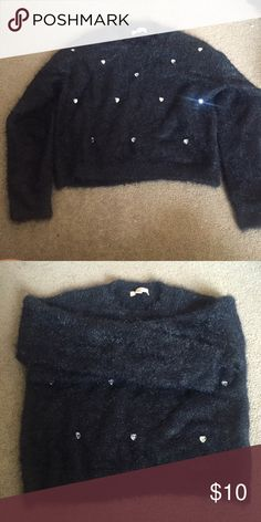 Black sweater with heart shaped diamond decoration Only wear once Candie's Sweaters Crew & Scoop Necks