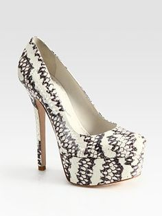 Alice + Olivia  Larimore Snake-Print Leather Platform Pumps --this is probably as far as white pumps as I'll go.