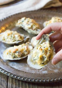 Three-Cheese Baked Oysters Recipe - A Spicy Perspective Seafood Recipes, Appetizer Recipes, Appetizers, Appetizer Ideas, Chicken Recipes, Cheddar, Baked Oyster Recipes, Cheese Stuffed Shells, Baked Cheese