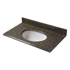 Pegasus - 25 in. x 22 in. Granite Vanity Top with White Bowl and 4 in. Faucet Spread in Quadro - Transform your bathroom with a beautiful granite vanity top with attached undermount sink. Easy to install and fits on any 24 in. Vanity Tops With Sink, Bathroom Vanity Tops, Single Bathroom Vanity, Bathroom Plumbing, Bathroom Ideas, Bathroom Faucets, Small Bathroom, Basement Bathroom, Bathroom Colors