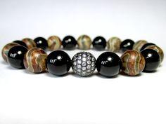 Mens Agate and Onyx Bracelet Tibetan Agate by LampJewellery