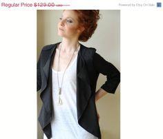 Women Black Jacket / Ruffle Jacket / Women by PizkaFashion on Etsy, $109.65