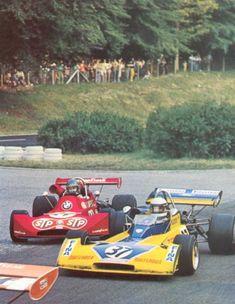 A fight beween germans : (37) Jochen Mass - Surtees TS15 BDA/Hart - Team Surtees FINA and (24) Hans-Joachim Stuck - March 732 BMW - STP March Engineering - XXI Grand Prix de Rouen 1973