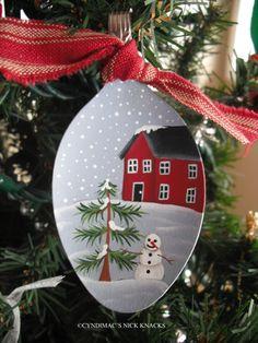 House and Snowman Spoon Ornament. $10.95, via Etsy.