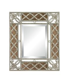 Sterling Industries 132-010 Antique Glass Framed Mirror With Silver Scroll Work | Capitol Lighting 1-800lighting.com