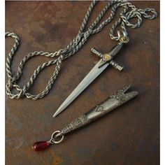 Sword Necklace, Medieval SWORD And SCABBARD, Wonderful Detailing, Blood Droplet Dangle, USA Shipping, Not a Toy, Sharp featuring polyvore, women's fashion, jewelry, necklaces, dangle necklace and dangling jewelry