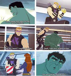 Hawkeye and Hulk eating each others' food.