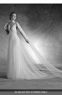 Main Image - Atelier Pronovias Nepal Lace & Tulle V-Neck Gown with Cascading Train