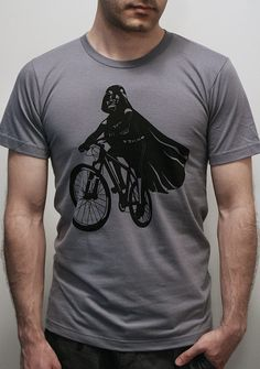 Darth Vader is Riding It - Mens t shirt / Unisex t shirt printed with ECO ink (Star Wars  Darth Vader bike t shirt)