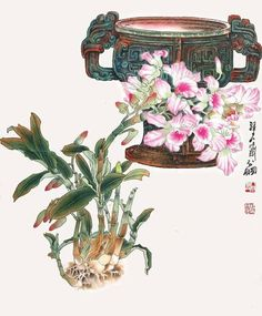 Chinese Painting Flowers, Orchids Painting, Japanese Painting, Butterfly Art, Flower Art, Orchid Images, Oriental Flowers, Japanese Calligraphy, China Art