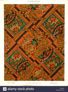Stock Photo - George Harrison & Co (Bradford) Linoleum, 2 yards wide [Victorian Japanese Colors, Red And Teal, George Harrison, Bradford, Chinoiserie, Yards, Cross Stitch Patterns, Color Schemes, Victorian
