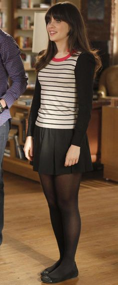 Zooey Deschanel's Striped sweater with pink trim on New Girl.  Outfit details: http://wwzdw.com/z/1878/