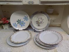 8 Piece Vintage China Mismatched Dinner Plates by CatfishJarRescue