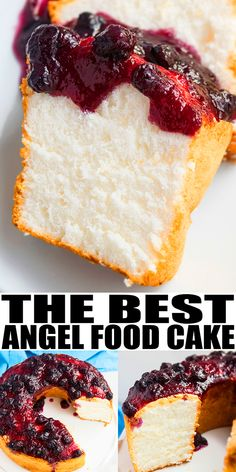ANGEL FOOD CAKE RECIPE- Quick, easy, homemade, made from scratch, requires simple ingredients. It has a light, airy fluffy texture. Top it off with whipped cream, glaze, frosting, fresh fruits like pineapples, strawberries, berries) and use leftovers in other angel food cake desserts like trifles. From CakeWhiz.com #cake #dessert #dessertrecipes #summer #baking #cakerecipe #angelfoodcake #blueberries #sweet #sweettreats