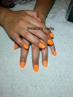 gel nail orange fluo
