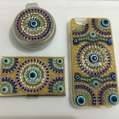 Capa iPhone 6 olho grego, espelho/escova olho grego e porta cartão de visita olho grego by @adritrannin  #olhogrego