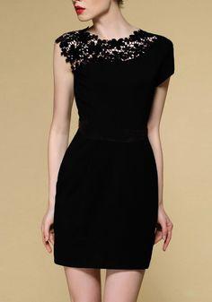Little Black Dress : Black Sleeveless Contrast Lace Shoulder Dress Pretty Outfits, Pretty Dresses, Beautiful Dresses, Elegant Dresses, Mode Outfits, Mode Inspiration, Mode Style, Look Fashion, Dress Fashion