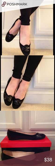 Talbots black suede and patent flats Rubber sole, patent leather and suede uppers with a small brass buckle on toe box. Light wear on suede. Talbots Shoes Flats & Loafers