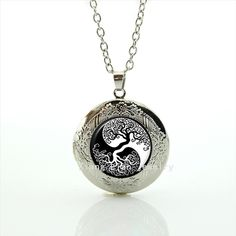 Tree of life yin yang tree White and black  locket necklace for Boyfriend Gift Present for Father Day Classy elegant easy style //Price: $8.99 & FREE Shipping //     #hashtag4