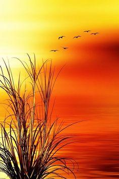 Sunset Art Print rnrnSource by jantoelge Pictures To Paint, Nature Pictures, Sunset Art, Pastel Art, Nature Wallpaper, Hd Wallpaper, Beautiful Landscapes, Landscape Paintings, Amazing Art