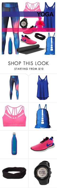 """""""Namaste: What to Wear to Yoga"""" by the-geek-goddess ❤ liked on Polyvore featuring MANGO, prAna, NIKE, S'well and Suunto"""