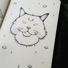 """Cosmic cat ⭐ (22/366) #cat #cosmic #space #stars #illustration #fluffy #moon #moleskine #drawingoftheday #catillustration #kitty #spacekitty #planets…"""
