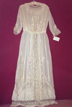 Edwardian Lace Dress    As found.   35 silk satin buttons.