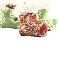 Organic Catnip Cat Toy Red Christmas Stocking by wagsandwiggles