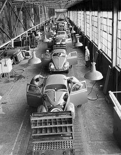 Volkswagen Beetle assembly line, Wolfsburg, T6 California, Kdf Wagen, Vw Classic, Vw Vintage, Vw Cars, Vw Camper, Vw Beetles, Belle Photo, Muscle Cars