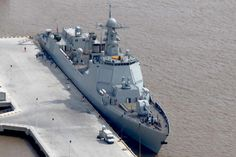 "Brand new Chinese ""Aegis"", 052D destroyer, not enlisted yet, sitting at dock"