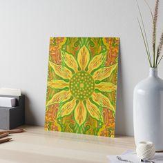 """Sun Flower, bohemian floral pattern, yellow, green & orange"" Art Boards by clipsocallipso | Redbubble"