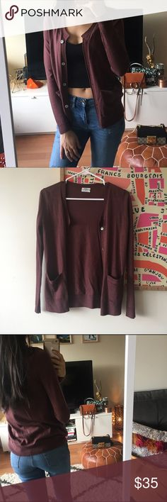 Madewell Merino Wool Maroon Cardigan Gorgeous pinkish maroon color. Really pretty! Worn once. No major defects. Pearly looking flat buttons. Madewell Sweaters Cardigans
