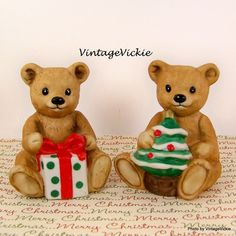 Vintage Bears Bride Groom Wedding Cake Topper Porcelain Figurine