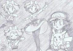from Episode 79 ©Satoshi Tajiri/Nintendo Satoshi - Serena, . Pokemon Manga, All Pokemon, Anime Manga, Anime Art, Satoshi Pokemon, Pokemon Ash And Serena, Satoshi Tajiri, Ashes Love, Micro Lego