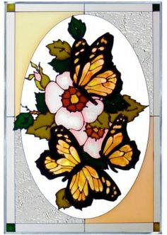 """Yellow Black Butterflies Vertical Art Glass Panel 20 x 14 by Keegan's Korner. $79.95. Radiantly colored butterflies hover among the blossoms in a delightfully artistic composition. This vertical panel is zinc-framed and measures 14"""" wide x 20.5"""" high. It features two soldered metal rings along the top for hanging. We will include a chain hanging kit for your convenience.  This is a custom order, and the average receipt time is 7 to 10 business days from time of order.  The ..."""