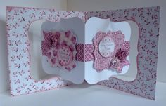 Card made using Bonbon 6x6 pretty pink paper pad, die cuts and sentiments on a pivot card blank. Designed by Julie Hickey with spiral roses and sentiments.