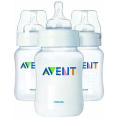 Kit com 3 de Mamadeiras Philips Avent com Bico de Fluxo Lento Anti-Cólica e sem BPA - 266 ml Branca