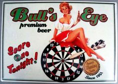 "Dart Board ""Bull's Eye Premium Beer"" Tin Metal Sign Pin Up Girl Darts New 12x17 