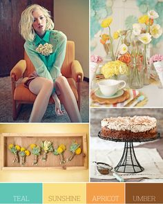 teal, sunshine, apricot, umber... this is a great wedding color combo... hmmm... should i be re-thinking? :)