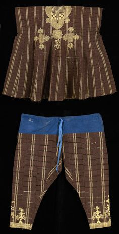 Africa | Man's tunic (Agbada) and pants from the Yoruba people of Nigeria | Cotton ~ brown, golden yellow embroidery; brown fabric with gold stripe. Pants with blue cotton drawstring panel at the top.