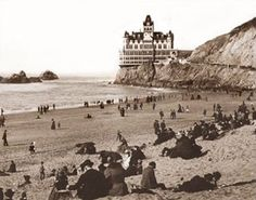 RECREATION: San Francisco's Cliff House & Beach 1902. Along with the Sutro Baths (behind the Cliff House) this was a top excursion destination for the region. The House shown is the 2nd on the site, Like the first, it had to be replaced (in 1907) because of another fire.