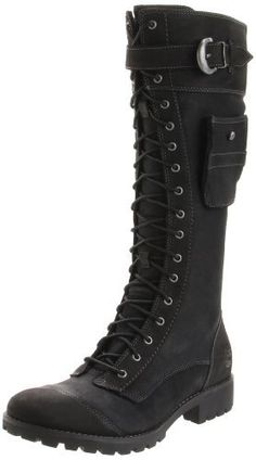 9c63ec10d3a Women s Timberland Atrus Knee High Zip Lace Up Black Leather Boots ...