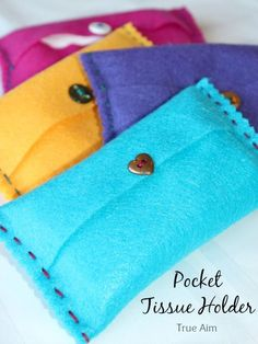 Easy Beginner sewing project for kids: DIY Felt Pocket Kleenex Tissue Holders