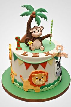 Jungle Safari cake for Lex's birthday! Jungle Birthday Cakes, Jungle Safari Cake, Jungle Theme Cakes, Animal Birthday Cakes, Safari Cakes, 2 Birthday Cake, 1st Birthday Cakes For Boys, Jungle Cupcakes, Monkey Birthday