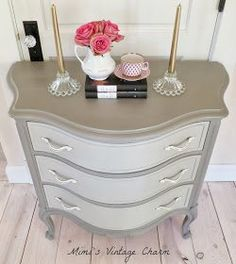 Painted two toned dresser –Annie Sloan french linen is the shell and mix with old white for drawers/old white on handles