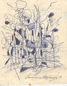 E. Besozzi pitt. 1957 Composizione biro su carta cm. 11,1x14,1 arc. 360