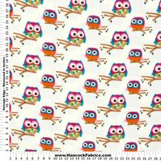 Anti-Pill Owls on Branches Fleece Fabric
