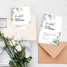 Greenery birthday invitation template for a modern birthday party 4th Birthday, Birthday Parties, Birthday Invitation Templates, Greenery, My Design, My Etsy Shop, Place Card Holders, Modern, Party