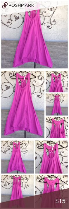 """Red Camel Sundress S Red Camel. Super nice asymmetrical purple dress. Size small. 100% cotton. Underarm to hem 29"""" on sides, front & back 24-25"""". Underarm to underarm 17"""". Ruffled neckline and armholes. Center tie in back. Super cute!  EUC Red Camel Dresses Asymmetrical"""
