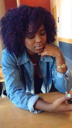 purple hair dye on natural hair Purple Natural Hair, Purple Hair Black Girl, Dyed Hair Purple, Dyed Natural Hair, Pelo Natural, Natural Hair Styles For Black Women, Natural Hair Tips, Black Hair, Natural Styles